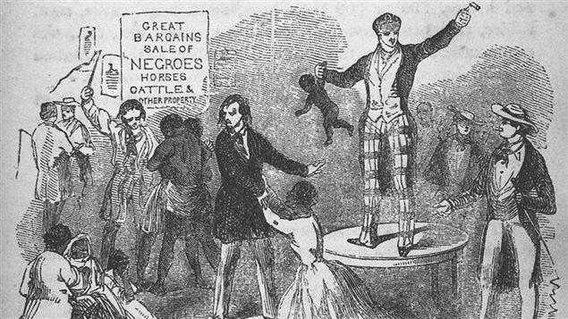Gravure du 19e siècle montrant un encan d'esclaves
