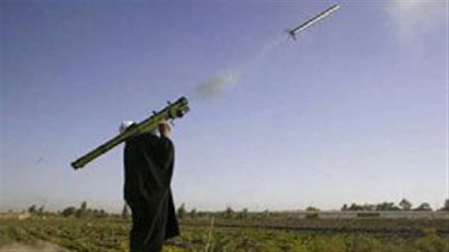 Iraqi insurgent firing shoulder launched missile. These guided missiles are highly accurate and pose a very serious threat to aircraft. This is of concern to any Canadian mission where helicopters would be a critical resource.