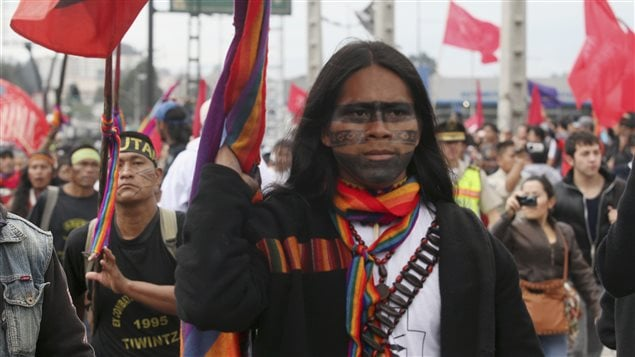Ecuadorian Indian protesters participate in a march to Quito to protest against the El Mirador copper mining project,in Quito March 22, 2012.