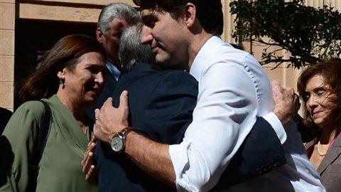Raoul Castro et Justin Trudeau au terme de leur journée ensemble mercredi de la semaine dernière.Crédit photo : Presse canadienne