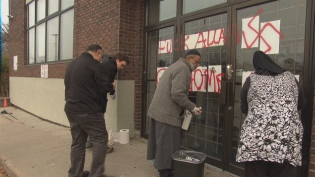 Racist graffiti was spray-painted on the entrance to the Muslim Association in Ottawa. A teen has been arrested in this and five other cases.