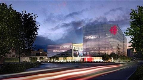 Vue extérieure de la future nouvelle Maison de Radio-Canada dans la ville de Montréal prévue pour janvier 2020.