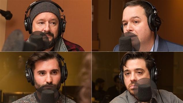 De gauche à droite et de haut en bas : Rémi-Pierre Paquin, Gérald Fillion, Arnaud Granata et Stéphane Mailhiot