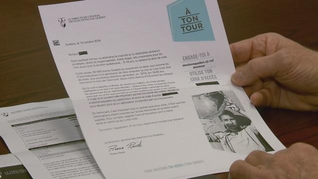 La lettre que le DGEQ envoie aux nouveaux électeurs