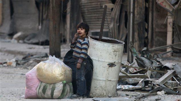Une zone assiégée par les rebelles d'un quartier d'Alep, le 23 novembre 2016