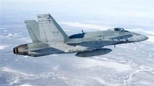 Un avion de chasse CF-18, comme celui-ci, s'est écrasé près de Cold Lake, en Alberta, lundi, tuant le pilote.