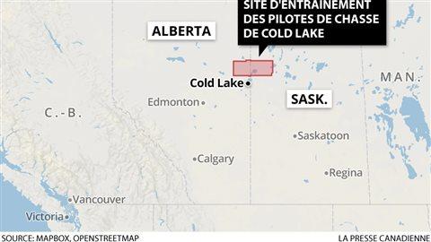 Cold Lake est à environ 290 kilomètres au nord-est d'Edmonton dans l'Ouest du Canada.