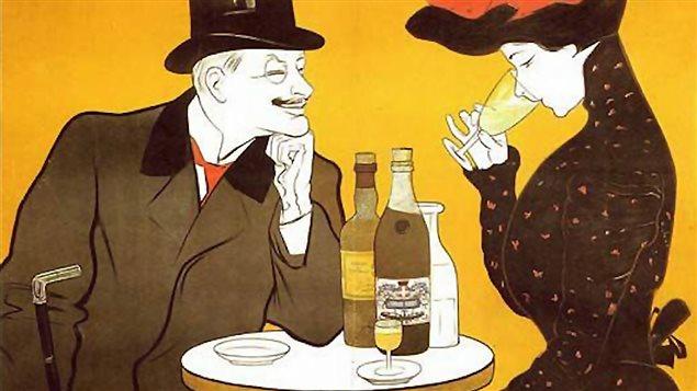 Détail d'une affiche artistique de la compagnie J. Edouard Pernot servant à promouvoir l'absinthe à la fin du 19e siècle
