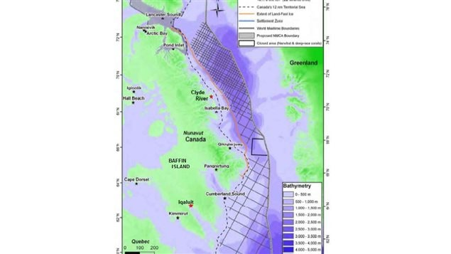 Clyde River about mid-point on Baffin Island. Nunavut Territory capital, Iqaluit at bottom. Note proposed protected area Lancaster Sound at top. Crosshatch indicates proposed seismic testing area.