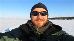 Lake Vastusjärvi Finland in March 2014 Brian Hayden (Phd) researching lake ecostystem activity during the cold winter