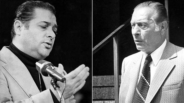 Photos d'archives de deux membres influents de la mafia montréalaise, Paolo Violi (à g.) et Vic Cotroni