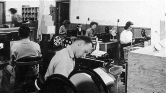 Interior of the communications centre, 1942. The communications aspect (Hydra) of the camp became increasingly important and continued after spy training was phased out in 1944.