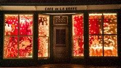 Vitrines de Noël au Café de la grave aux îles-de-la-Madeleine