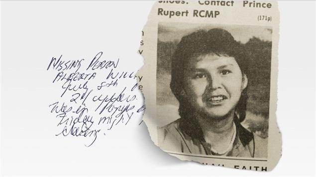 Entête du site de l'émission en baladodiffusion <i>Missing and Murdered : Who Killed Alberta Williams?</i>