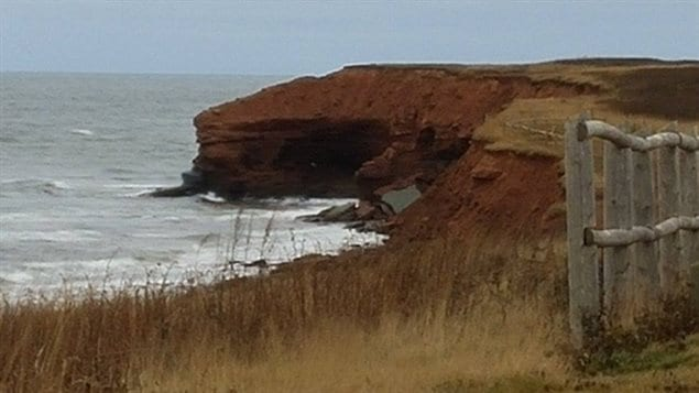 A portion of the PEI coastline. You can see where large sections, undermined, have recently fallen into the sea.