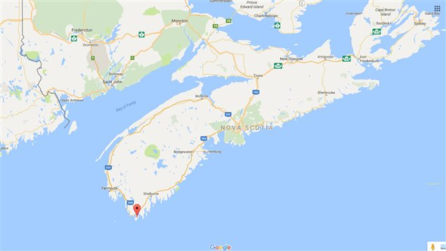 Cape Sable Island at the very southernmost tip of Nova Scotia, indicated by red balloon
