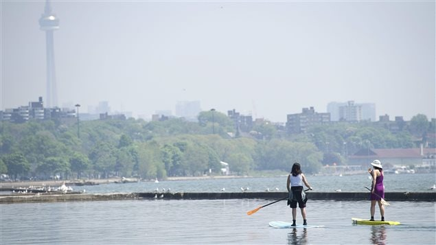 Two women use paddle boards on Lake Ontario just off the boardwalk along Lakeshore Blvd., in Toronto on Tuesday, May 31, 2011.