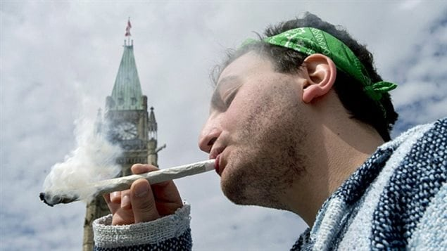 A man smokes a giant reefer in front of Parliament at the annual 4/20 pro-pot rally, this one in 2014. Pot was criminialized in Canada in 1923 some 14 years before the US, although there is no clear record of why.