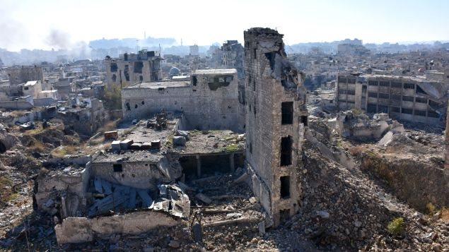 Des ruines, dans la vieille ville d'Alep.
