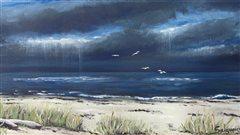 Aquarelle d'un paysage gaspésien de l'artiste Suzanne Salgueiro