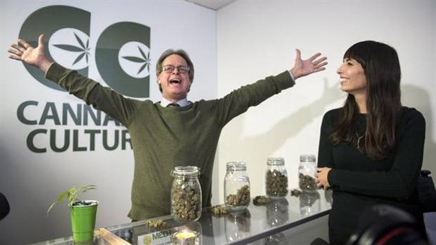 Marc Emery, who owns the Cannabis Culture brand with his wife Jodie, right, at the opening of one of their pot stores on Dec. 15, 2016, in Montreal