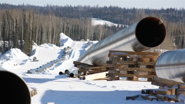 Construction continues in northern Alberta's energy sector, including this new Enbridge pipeline in the area between Fort McMurray and Conklin. (Kyle Bakx/CBC)