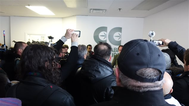 A crowd of interested and potential clients mixed in with lots of reporters and cameramen, to hear Mark Emery at one of his new dispensaries he's opening in Montreal