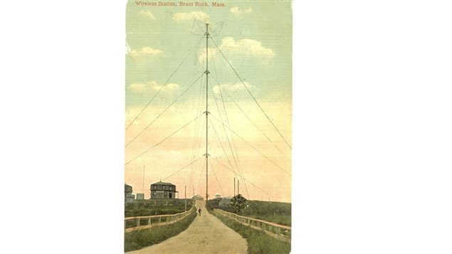 Postcard circa 1910- the Brant Rock transmission tower 128 metres (420ft) tall