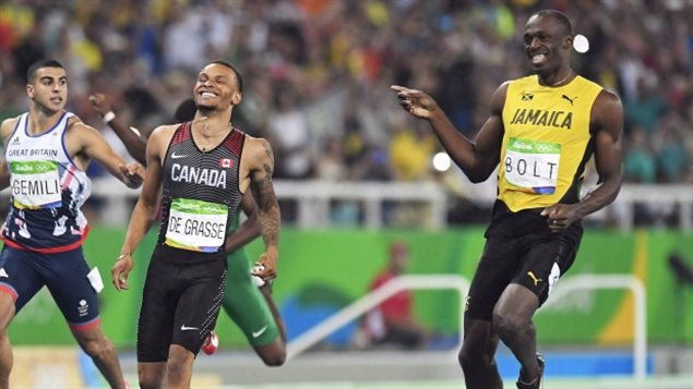 Canada's Andre De Grasse and Jamaica's Usain Bolt share a laugh as they compete during the men's 200-metre semifinals at the Rio Olympics.