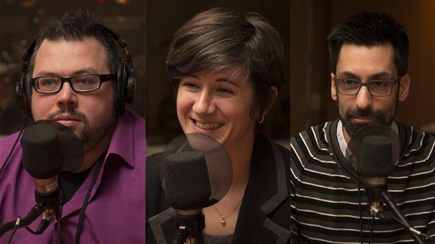 Jonathan Genest, Isabelle Lacroix et David Grondin, qui ont participé à l'écriture du livre « D'Asimov à Star Wars ».