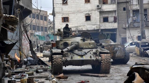 Les forces progouvernementales dans la ville d'Alep