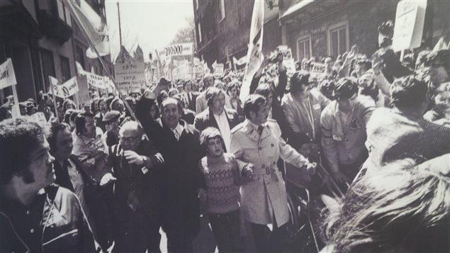 Une manifestation lors du front commun des syndicats québécois de 1972