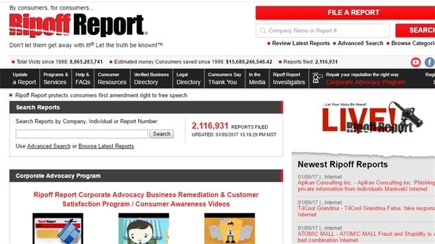 Entête du site Ripoff Report
