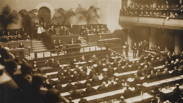 The first meeting of the League of Nations, 15 Nov 1920, in Geneva