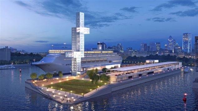 La future jetée Alexandra du port de Montréal, dont on voit une esquisse, est en voie d'être rénovée pour accueillir les bateaux de croisière. Photo: Port de Montréal