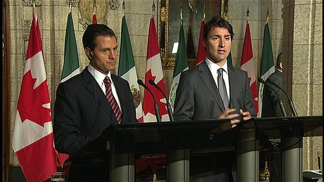 rime Minister Justin Trudeau, right, and Mexican President Enrique Pena Nieto at a joint news conference on Parliament Hill in Ottawa in June when Canada announced it was dropping a stringent visa requirement for travellers from Mexico.