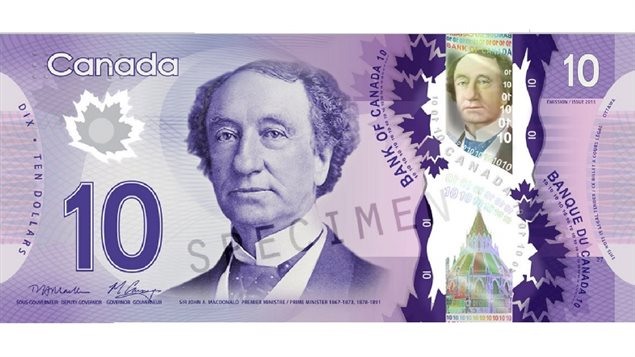 Sir John A Macdonald has long been featured on Canada's ten dollar banknotes. This is the latest series of plymer banknotes
