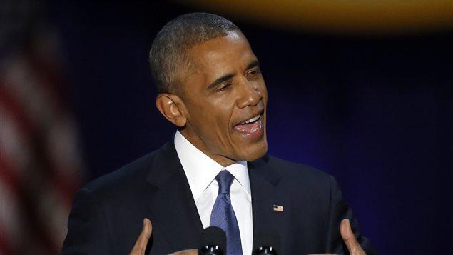 Barack Obama lors de son discours d'adieu