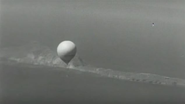 A balloon bomb filmed from a US military plane in 1944 orr 45.