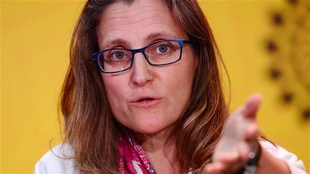 Canadian Minister of International Trade Chrystia Freeland speaks to reporters during the APEC Summit in Lima, Peru on Saturday, Nov. 19, 2016. Freeland was appointed Canada's foreign affairs minister following a cabinet reshuffle on Tuesday. Sean Kilpatrick/THE CANADIAN PRESS