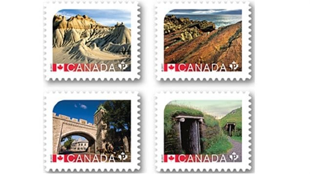 The other stamps in the latest issue of the Canada Post UNESCO World Heritage Sides in Canada. Clockwise from top left: Dinosaur Provincial Park, Alberta; Mistaken Point N.L, Historic District of Old Québec, L'Anse aux Meadows National Historic Site, N.L.