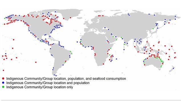 Localización de las comunidades indígenas costeras en el mundo.