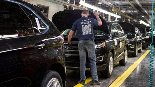 Cars on a production line at the Ford Assembly Plant in Oakville, Ont., in this Feb. 2015 photo. U.S. president-elect Donald Trump has suggested a border tax on cars imported from Mexico and a Trump spokesperson suggests that Canada's auto industry may not be immune to tariffs, as well as other carmakers saying if they want to sell into the US they should build cars there.