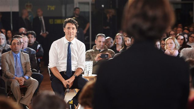 Prime Minister Justin Trudeau listened to questions at a town hall meeting in Sherbrooke, Quebec on January 17, 2017.
