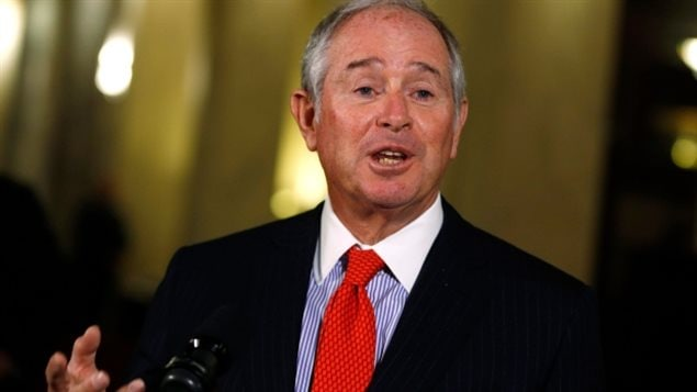 Stephen Schwarzman, chair of President Donald Trump's strategic and policy forum, answers questions at a news conference after meeting with Prime Minister Justin Trudeau in Calgary.