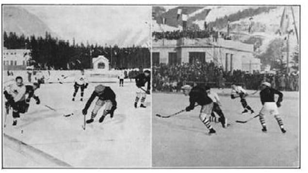 The final hockey game pitting the Americans against the unstoppable Canadians on the outdoor rink.