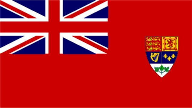 The approved 1922 version of the Red Ensign with the official 1921 Coat of Arms of Canada in the fly