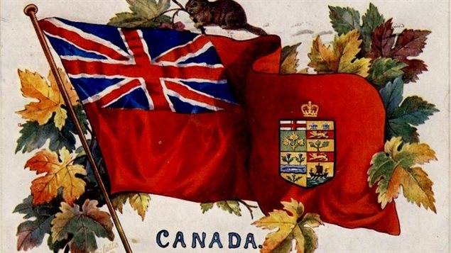 Image on a 1908 postcard. Sometimes flag makers would add a crown, or other embellishments further adding confusion as to what constituted Canada's (still unofficial) flag