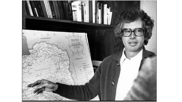 Ken Taylor briefs a Canadian Press reporter on the current conditions in Iran one week before leaving Iran in 1980. Taylor kept six Americans hidden at the Canadian embassy in Tehran and facilitated their escape by getting fake passports and plane tickets for them.