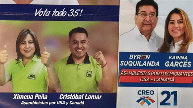 Cuatro candidatos que buscan representar a los ecuatorianos en Canadá y Estados Unidos en la próxima Asamblea de Ecuador.